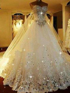 Cheap Substantial 2019 Wedding Dresses Sparkly Rhinestone Lace A Line Wedding Dresses, 2019 Luxurious Long Custom Wedding Gowns, Affordable Bridal Dresses, 17111 I belong to the more is better school of thought! Photo by LightInTheBox Brand:JUEXIU Bridal Most Beautiful Wedding Dresses, Dream Wedding Dresses, Beautiful Gowns, Pretty Dresses, Bridal Dresses, Gown Wedding, Prom Dresses, Wedding Dresses With Bling, Bridesmaid Dresses