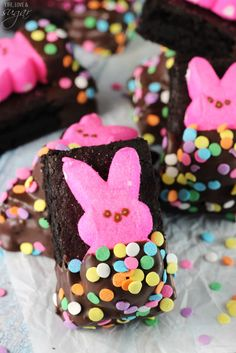 Peeps in a blanket brownies - moist brownies are covered with a marshmallow bunny Peep, then dipped in chocolate! Such a fun Easter treat!