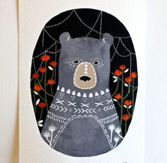 Bear Illustration Painting - Animal Watercolor Art - Keiko Bear by Marisa Redondo op Etsy, € Watercolor Animals, Watercolor Paintings, Watercolour, Art Aquarelle, Bear Illustration, Wow Art, Bear Art, Animal Paintings, Painting Inspiration