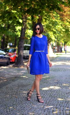 Cobalt Dress  sandals ( sandals ) - Zara, bag ( bag ) - Romwe watch ( watch ) - Casio, dress ( dress ) - Romwe ( here ) glasses ( sunnies ) - Ray-Ban Clubmaster  Fashion By Daisyline