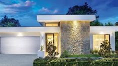 mediterranean homes architecture Flat Roof House, Facade House, Modern House Facades, Modern House Design, Building Design, Building A House, One Story Homes, Single Story Homes, Casa Real
