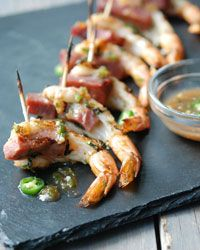 Skewered Shrimp and Ham with Apple Jelly #recipe