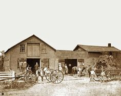 Blacksmith Shop with Running Gear (left) and 2-Box Wagon (right).