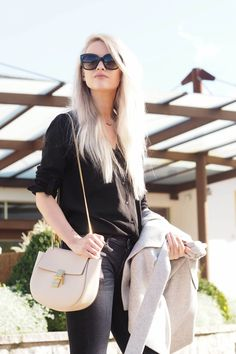 Styling this gorgeous Reiss sleeveless jacket in Grey Marl with my Celine sunglasses and my favourite Chloe Drew!