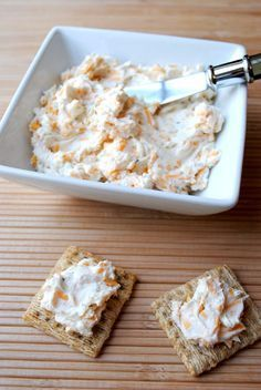 Cheddar Ranch Cheese Spread: 8oz cream cheese, 1/2 c sour cream, 0.7oz ranch dressing mix, 1 c shredded cheddar .. Super Bowl??