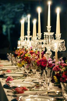 #table #decor....this one for the vintage crystal candelabra...