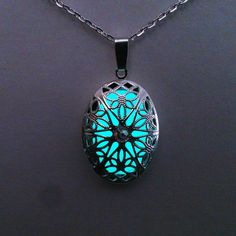 Aqua Glowing Necklace Glowing Jewelry  Glow by BespokeInnaDesign