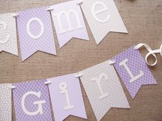 Lavender And Gray Baby Shower Banner