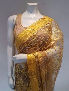 Designer net saree in 2 tone -yellow and faun Indian Sarees, Silk Sarees, Net Saree, Indian Couture, Embroidered Blouse, Digital Photography, Indian Fashion, Yellow, How To Wear