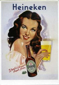 Enjoy a good glass of Heineken. Heineken stands for enjoying life. /* as good as many traditional Canadian beers. in fact some of the German taste prcisely the same. as does Heineken. Beer Poster, Poster Ads, Advertising Poster, Beer Advertisement, Old Advertisements, Pub Vintage, Vintage Labels, Sous Bock, Gravure Illustration