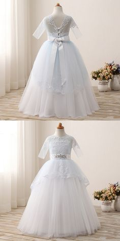 3c189f08dc 2017 New First Communion Dresses O-Neck Appliques Crystal Half Sleeves  Floor length Flower Girl