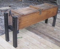 From bullets to bench; reclaiming an old ammunition box for a backyard storage bench.