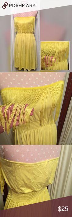 Christina Love yellow fringe dress Adorable tube top fringe dress Christina Love Dresses Mini