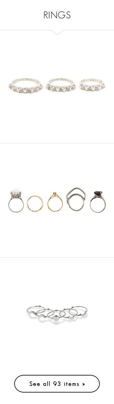 """""""RINGS"""" by sarah-lynne17 ❤ liked on Polyvore featuring jewelry, rings, accessories, metallic, eddie borgo, pave jewelry, pink jewelry, pave set rings, metallic jewelry and fillers"""