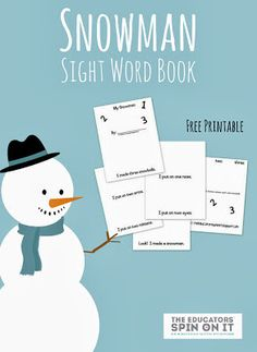 Snowman Sight Word Book with free printable and other winter activity ideas from The Educators' Spin On It