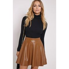 Emma Tan Faux Leather Skater Skirt-6 ($19) ❤ liked on Polyvore featuring skirts, brown, flared skater skirt, faux leather skirt, circle skirt, brown skirt and vegan leather skirt
