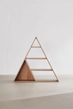 New Home + Apartment Essentials Triangle Bookshelf, Triangle Shelf, A Frame Cabin, A Frame House, Hanging Shelves, Wood Shelves, Wall Bookshelves, Altar, Cadre Diy