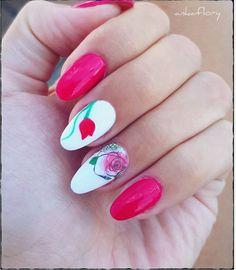 Red roses on white nail polish