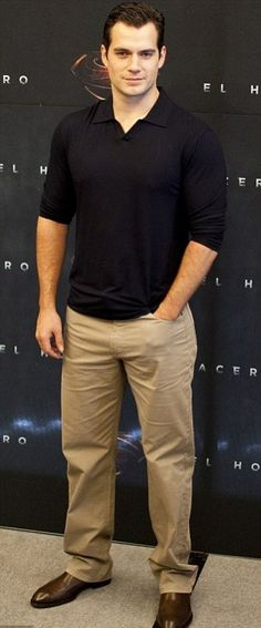 Henry Cavill looked casual and chic at the Man of Steel press conference in Shanghai, China.
