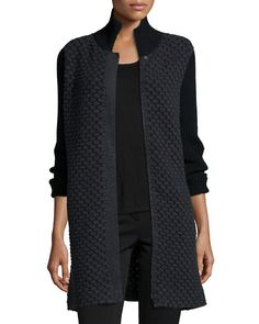 Bubble-Stitch Zip-Front Cocoon Coat, Size: SMALL, Grey/Black - Neiman Marcus Cashmere Collection