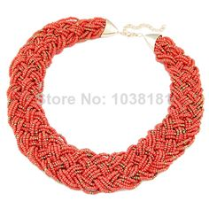 wholesale retail fashion jewelry 2014 tribal bohemian seed beads woven handmade coral choker necklaces for women 014030204