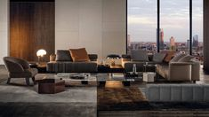 Luxury Italian home furniture: 'Freeman Collection' by Minotti embraces relaxed contemporary living Stairs In Living Room, Living Room Modern, Living Room Sofa, Home Living Room, Living Room Designs, Contemporary Interior Design, Luxury Interior Design, Corner Sofa Design, Luxury Living
