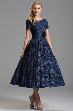 Short Sleeves V Back Blue Tea Length Party Dress (X04151405)