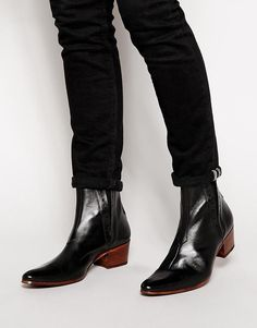 Buy Jeffery West Leather Heel Chelsea Boots at ASOS. Get the latest trends with ASOS now. Mens Heeled Boots, Black Leather Chelsea Boots, Black Boots, Men's Shoes, Shoe Boots, Men In Heels, Mens Boots Fashion, Leather Heels, Leather Men