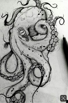 Octopus Sketch, Octopus Drawing, Octopus Tattoo Design, Octopus Tattoos, Octopus Art, Tattoo Design Drawings, Cool Art Drawings, Art Drawings Sketches, Tattoo Sketches