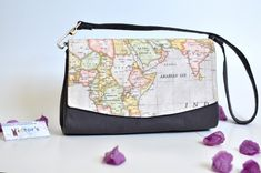 Convertible Clutch with Map Print