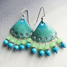 Handmade components, enameled in aqua, mint green and turquoise blue, make these chandelier earrings very unique. The bohemian turquoise earrings
