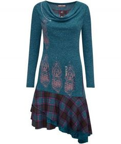 """Cute and a little funky, this delightful dress is inspired by elfin art for a fantastical feel. A mix of woven fabrics, prints and embroidery, we love the layered hem and dramatic cowl neck... perfect for the colder months. Approx Length: 110cm (at longest point) Our model is: 5'8"""""""