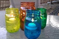 Made these deck candles today with my 6 year-old grandaughter:  http://www.momtastic.com/diy/168908-diy-tinted-mason-jars-in-rainbow