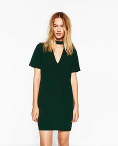 Green mini dress.
