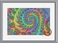 Rainbow Swirls In Fractal Cross Stitch Printable Needlework Pattern - DIY Crossstitch Chart, Relaxing Hobby, Instant Download PDF Design