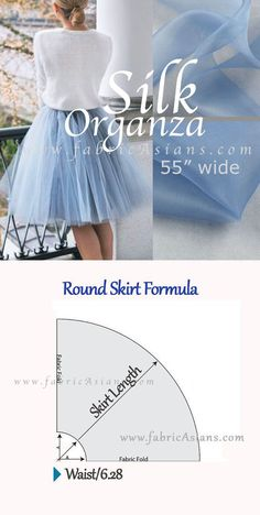 Full-skirt Pattern for Free. Dusty Blue Silk Organza Fabric by fabricAsians