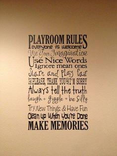 XL Playroom Rules Saying Vinyl Decal Wall Art Subway Art by bwordy, $28.00