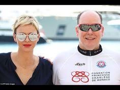 Prince Albert and Princess Charlene at the Riviera water bike challenge