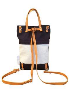 SALE 20% OFF Dark blue cotton handbag convertible backpack
