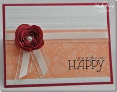 happy watercolor, Stampin' Up! Spiral flower,