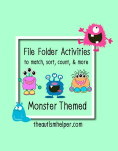 File Folder Activities - Monster Themed {12 file folder activities to work on counting, matching, sorting, and more; labels and instructions for setup included} by theautismhelper.com