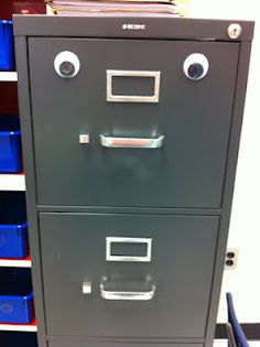 How many parts of your workplace could be improved by a pair of googly eyes? Just think of the possibilities. Moving Eyes, Second Grade Teacher, Googly Eyes, Teacher Blogs, Cheer Up, Glee, Filing Cabinet, Workplace, School Ideas