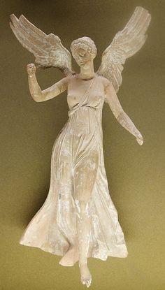 Winged Nike (Victoria), Hellenistic statuette (terracotta), 2nd century BC, (Musée du Louvre, Paris).