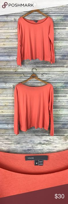 """Vince Orange Long Sleeve Tee Very cute 100% cotton long sleeve t-shirt with a boat neckline. Perfect orange color for fall. Gently used condition.  Measurements laying flat (without stretching)- Armpit to armpit: 22"""" Length, shoulder to hem: 23"""" Vince Tops"""