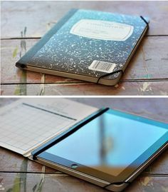 Notebook ipad case. iPad case can be a little more expensive. Here is an easy way to make an inexpensive iPad case out of an old notebook. Get detail instructions here. http://hative.com/diy-ipad-case-ideas-tutorials/