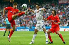 Russia 1 Greece 0 in 2008 in Salzburg. Sergei Semak comes in high to clear this ball in Group D at Euro 2008.