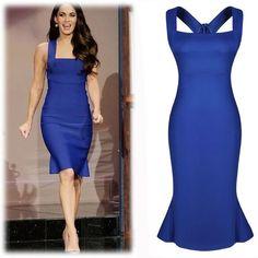 Bodycon formal peplum dress Polyester. Spandex. Blue. Knee length. Never worn before. Back zipper.  No trades.  Bust 30.2.  Waist 27.4.  Hip 32.  Length 43.5 Dresses