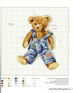 cross stitch teddy bear in overalls - adorable
