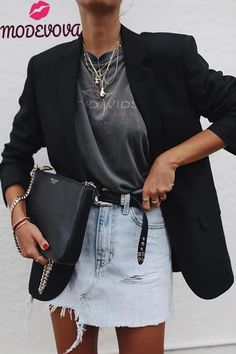 Summer to Fall outfit! Use a blazer to keep the chill at bay Summer to Fall outfit! Use a blazer to keep the chill at bay Edgy Fall Outfits, Mode Outfits, Summer Outfits, Casual Outfits, Dress Outfits, Dresses, Dress Shoes, Blazer Fashion, Fashion Outfits