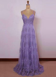 72dd8f71f4d6 Beautiful Light Purple Straps with Lace Elegant Party Dress, Tulle Evening  Gowns 2019